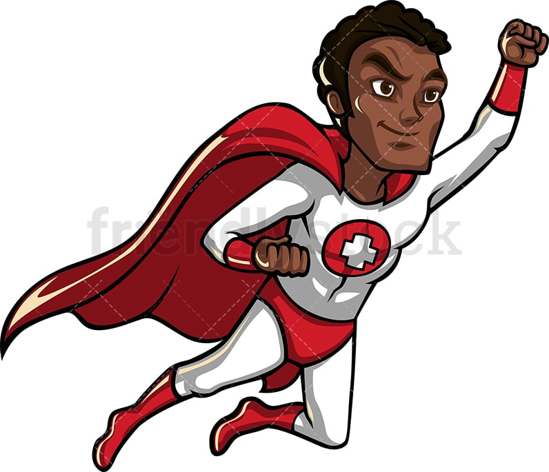 African-American health professional superhero with red cape. PNG - JPG - Vector EPS.