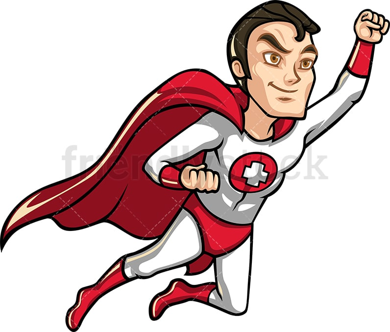 Health professional superhero with red cape. PNG - JPG - Vector EPS.
