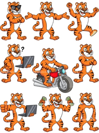 Bengal tiger character. PNG - JPG and vector EPS (infinitely scalable).