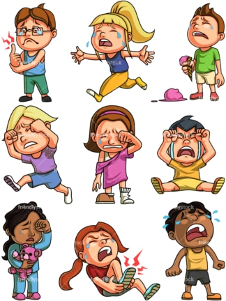 Kids crying. PNG - JPG and vector EPS file formats (infinitely scalable). Image isolated on transparent background.