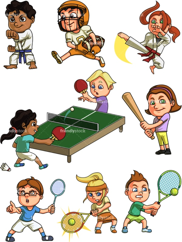 Kids doing sports. PNG - JPG and vector EPS file formats (infinitely scalable). Image isolated on transparent background.