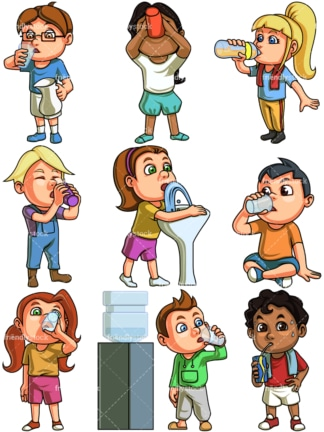 Kids drinking water. PNG - JPG and vector EPS file formats (infinitely scalable). Image isolated on transparent background.