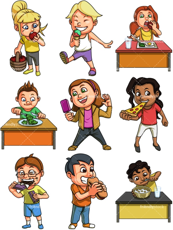 Kids eating. PNG - JPG and vector EPS file formats (infinitely scalable). Image isolated on transparent background.