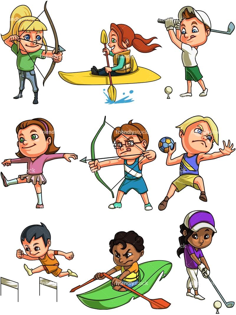 sports cartoon playing clipart boys clip children boy vector handball friendlystock cliparts background clipground