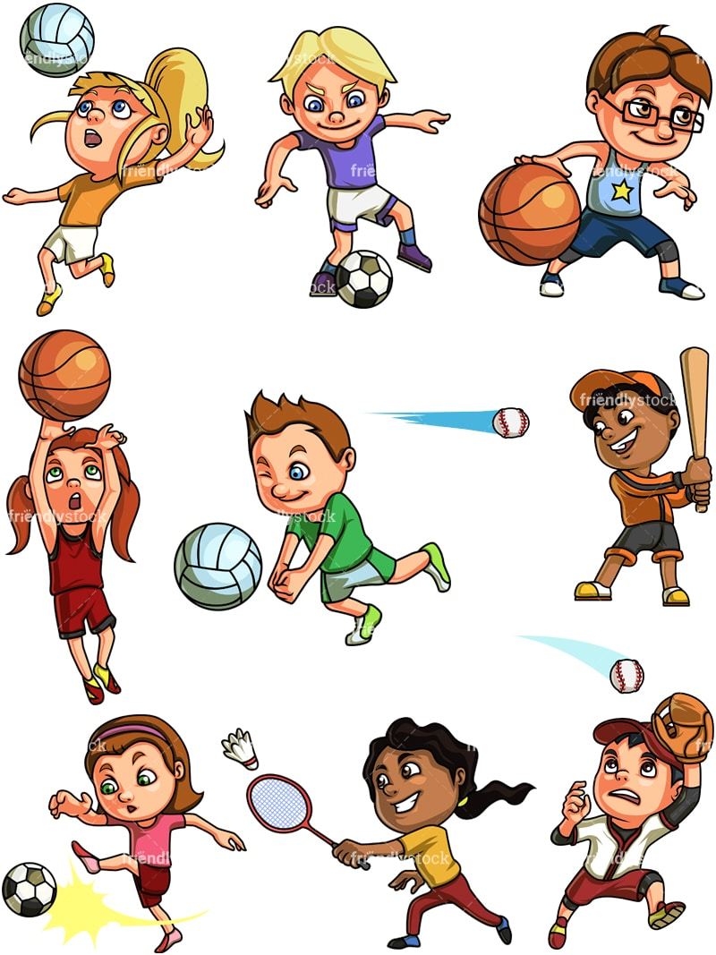 playing sports clip cartoon clipart vector children basketball badminton background english cliparts transparent