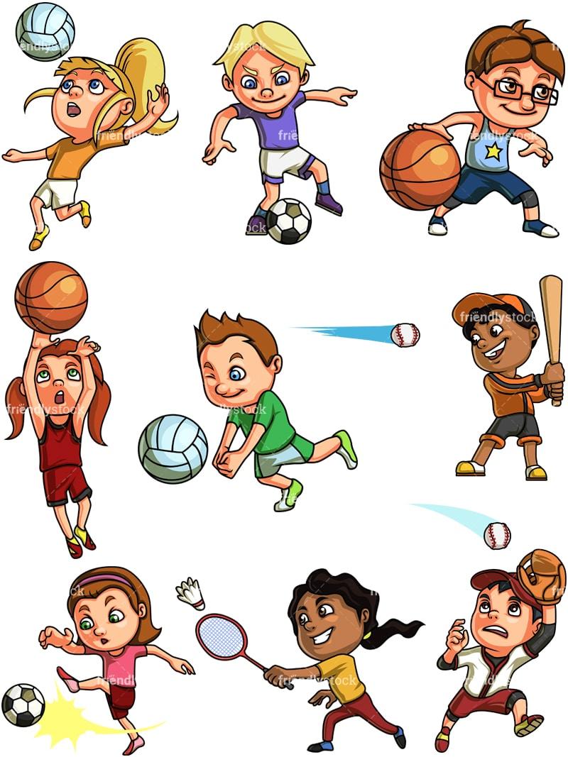 kids playing sports cartoon clipart vector