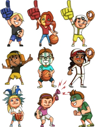 Kids sports fans. PNG - JPG and vector EPS file formats (infinitely scalable). Image isolated on transparent background.