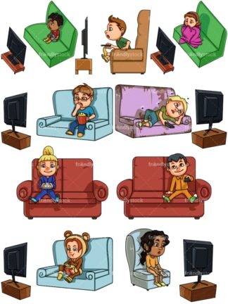 Kids watching tv. PNG - JPG and vector EPS file formats (infinitely scalable). Image isolated on transparent background.