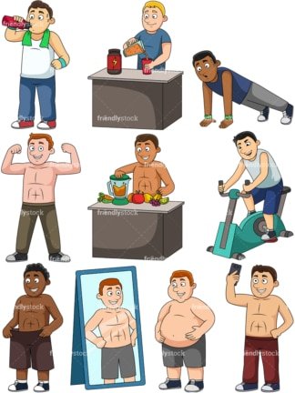 Men weight loss. PNG - JPG and vector EPS file formats (infinitely scalable). Images isolated on transparent background.