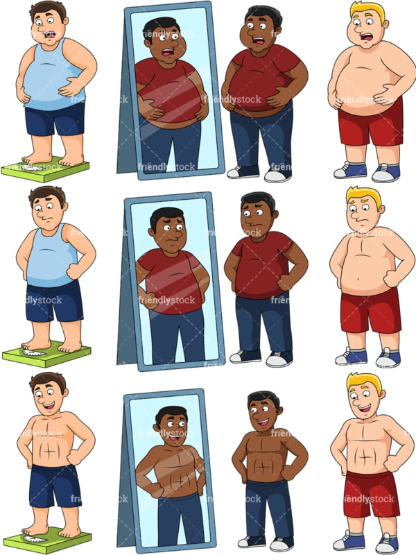 Overweight men before and after. PNG - JPG and vector EPS file formats (infinitely scalable). Images isolated on transparent background.