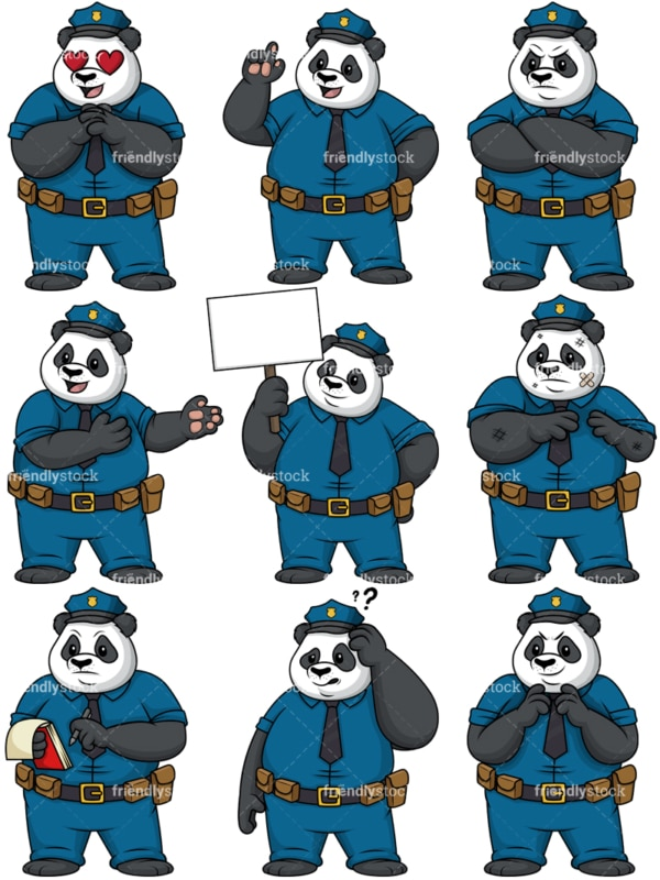 Panda police. PNG - JPG and vector EPS file formats (infinitely scalable).