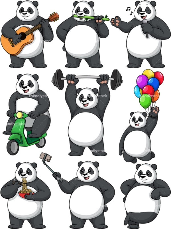 Panda vector collection. PNG - JPG and vector EPS file formats (infinitely scalable).