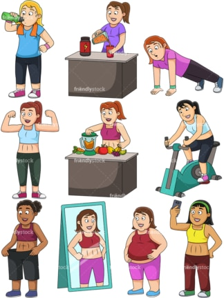 Women weight loss. PNG - JPG and vector EPS file formats (infinitely scalable). Images isolated on transparent background.