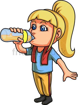Kid drinking from glass bottle. PNG - JPG and vector EPS. Isolated on transparent background.