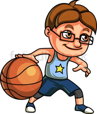 Little boy playing basketball. PNG - JPG and vector EPS (infinitely scalable). Image isolated on transparent background.