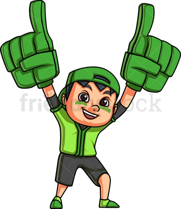 Little boy sports fan. PNG - JPG and vector EPS file formats (infinitely scalable). Image isolated on transparent background.