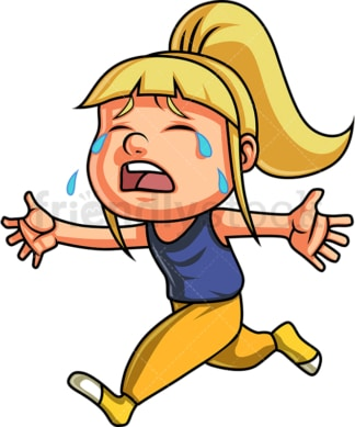 Little girl crying and running. PNG - JPG and vector EPS (infinitely scalable). Image isolated on transparent background.