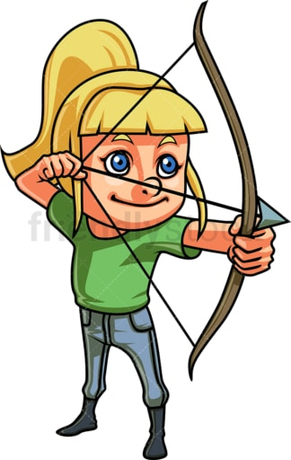 Little girl doing archery. PNG - JPG and vector EPS (infinitely scalable). Image isolated on transparent background.