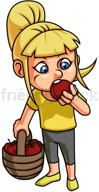 Female kid eating apple. PNG - JPG and vector EPS. Isolated on transparent background.