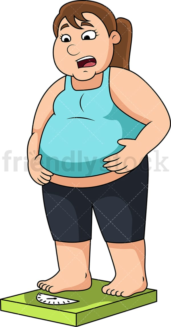 Overweight woman on weighing scale. PNG - JPG and vector EPS file formats (infinitely scalable). Image isolated on transparent background.
