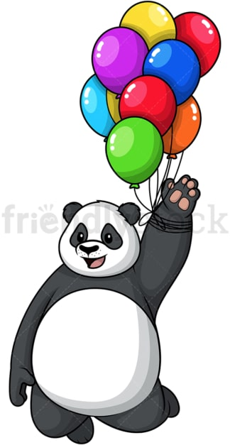 Panda flying with balloons. PNG - JPG and vector EPS (infinitely scalable).