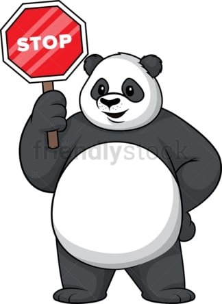 Panda holding stop sign. PNG - JPG and vector EPS (infinitely scalable).