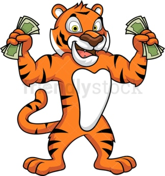 Tiger mascot holding cash. PNG - JPG and vector EPS (infinitely scalable).