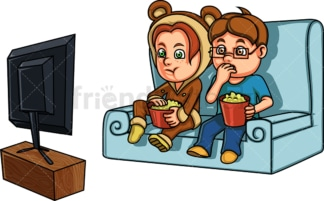 Kids watching a home movie. PNG - JPG and vector EPS file formats (infinitely scalable). Image isolated on transparent background.