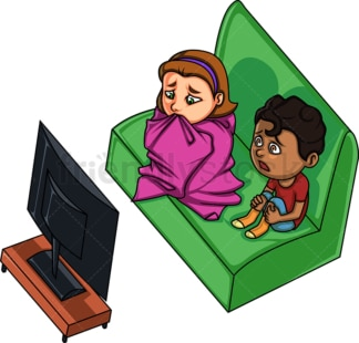 Kids watching a scary movie. PNG - JPG and vector EPS file formats (infinitely scalable). Image isolated on transparent background.