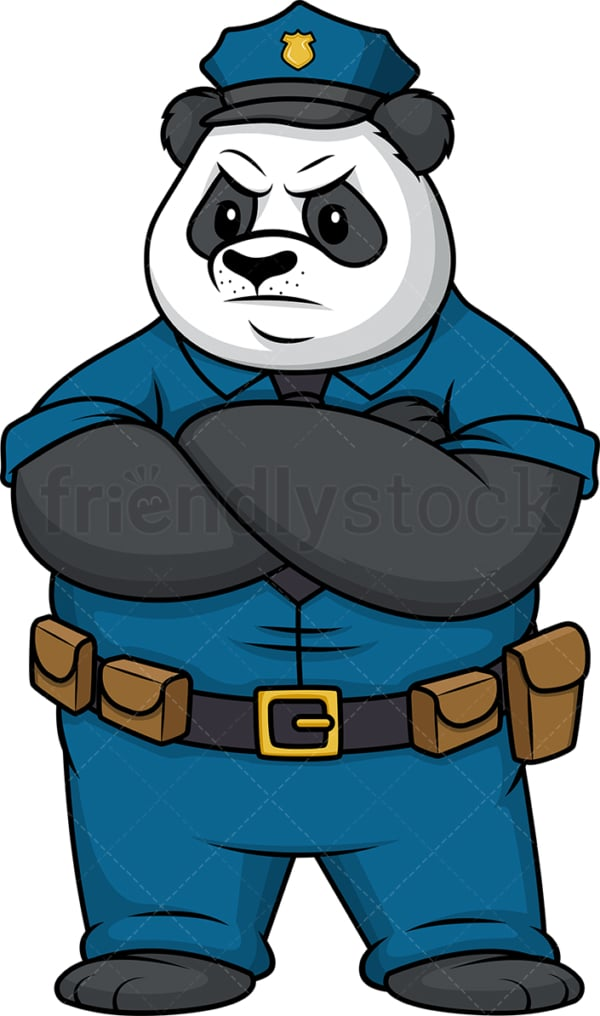 Angry panda policeman. PNG - JPG and vector EPS (infinitely scalable).