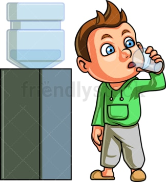 Kid drinking from water dispenser. PNG - JPG and vector EPS. Isolated on transparent background.
