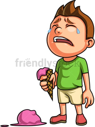 Crying boy with dropped ice cream. PNG - JPG and vector EPS (infinitely scalable). Image isolated on transparent background.