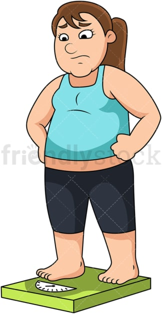 Fat woman on weighing scale. PNG - JPG and vector EPS file formats (infinitely scalable). Image isolated on transparent background.