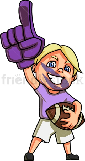 Little boy american football fan. PNG - JPG and vector EPS file formats (infinitely scalable). Image isolated on transparent background.