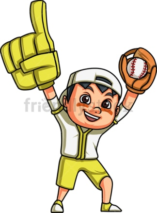 Little boy baseball fan. PNG - JPG and vector EPS (infinitely scalable). Image isolated on transparent background.