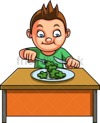 Male kid eating vegetables. PNG - JPG and vector EPS. Isolated on transparent background.