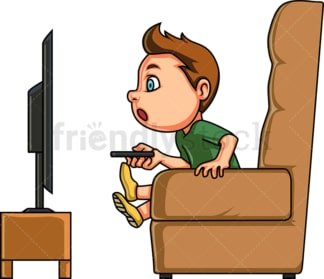 Little boy watching tv. PNG - JPG and vector EPS (infinitely scalable). Image isolated on transparent background.