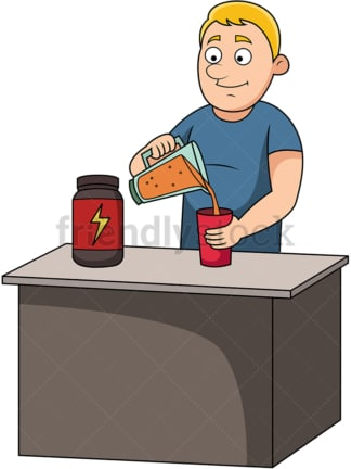 Man preparing protein drink. PNG - JPG and vector EPS file formats (infinitely scalable). Image isolated on transparent background.