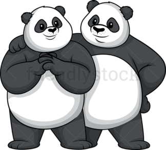 Panda couple. PNG - JPG and vector EPS file formats (infinitely scalable). Image isolated on transparent background.