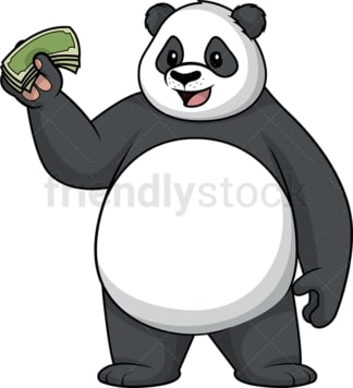 Panda holding money. PNG - JPG and vector EPS (infinitely scalable).