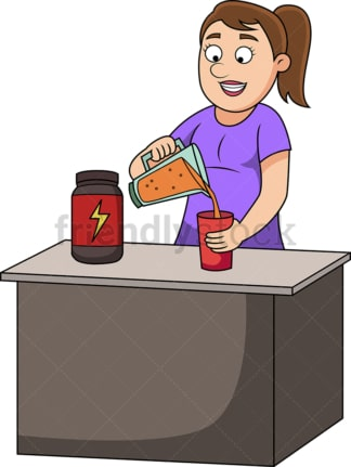 Woman preparing a protein drink. PNG - JPG and vector EPS file formats (infinitely scalable). Image isolated on transparent background.