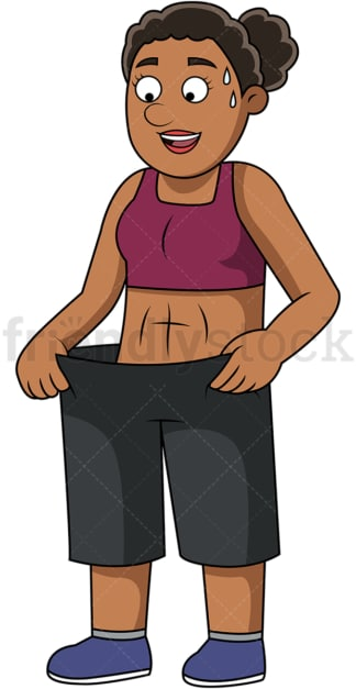 Black woman fitting in old pants. PNG - JPG and vector EPS file formats (infinitely scalable). Image isolated on transparent background.