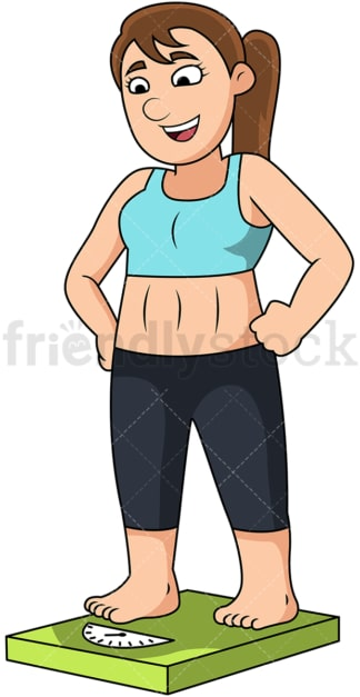 Fit woman on weighing scale. PNG - JPG and vector EPS file formats (infinitely scalable). Image isolated on transparent background.