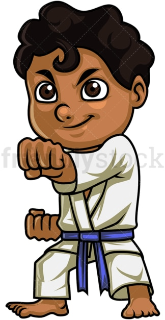 Kid doing karate. PNG - JPG and vector EPS (infinitely scalable). Image isolated on transparent background.