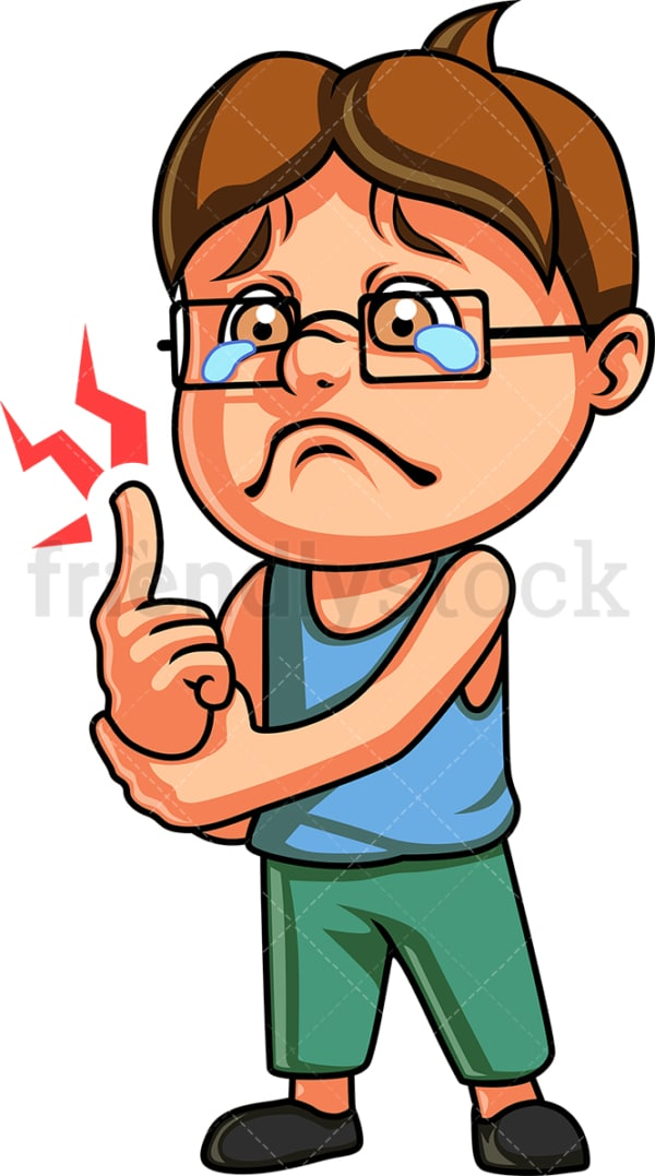 Kid hurting and crying. PNG - JPG and vector EPS (infinitely scalable). Image isolated on transparent background.