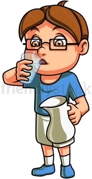 Kid drinking water. PNG - JPG and vector EPS. Isolated on transparent background.