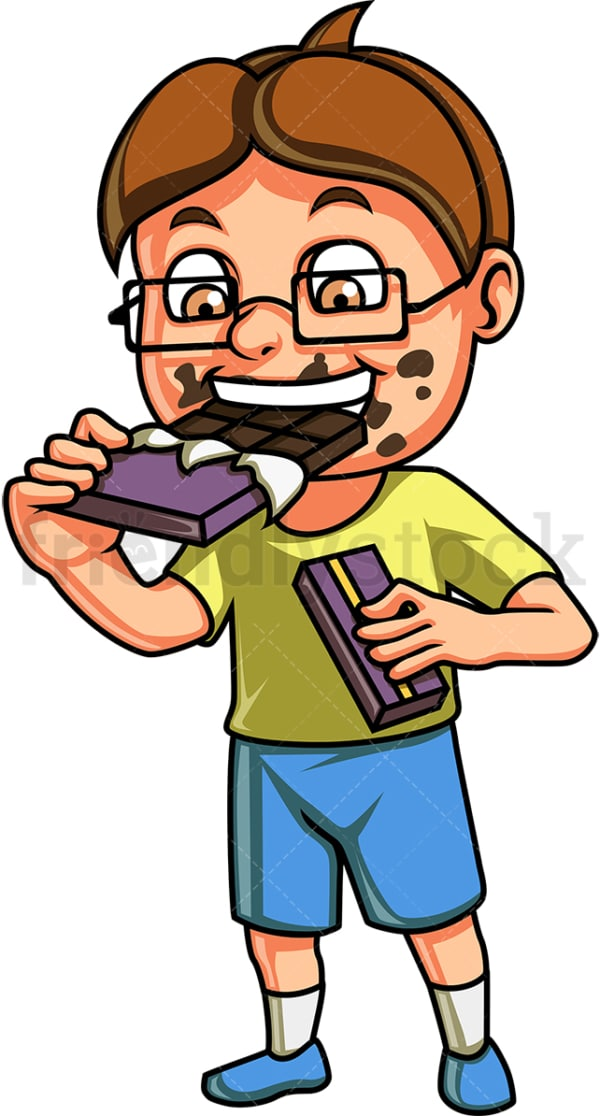 Male kid eating chocolate. PNG - JPG and vector EPS. Isolated on transparent background.