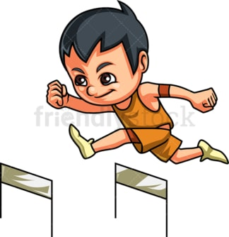 Little boy hurdling. PNG - JPG and vector EPS (infinitely scalable). Image isolated on transparent background.