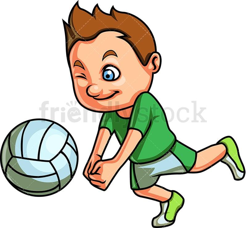 Little Boy Playing Volleyball Cartoon Clipart Vector ...