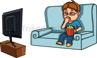 Little boy watching home movie. PNG - JPG and vector EPS (infinitely scalable). Image isolated on transparent background.